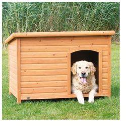 Naturalna buda dla psa z płaskim dachem Kolor:Brązowy / Biały, Rozmiar:M