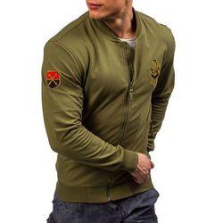 Zielona bluza męska bez kaptura z nadrukiem Denley 0491 - ZIELONY