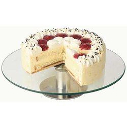 Patera na ciasto zpodstawą ze stali nierdzewnej satynowanej iszklanym talerzem 30x7 cm. APS 00444