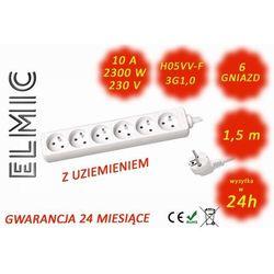 Przedłużacz elektryczny listwa bez włącznika - 1.5 mb - WS NF 06 / 1.5 / 1.0 / K - ELMIC biały