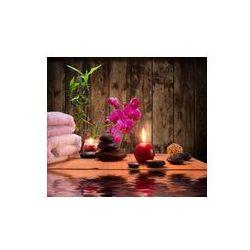 Foto naklejka samoprzylepna 100 x 100 cm - Masaż - bambus - Orchidea, ręczniki, świece kamienie