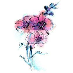 Obraz trzy fioletowy storczyk, gałąź, kwiat, akwarela szkic na białym tle