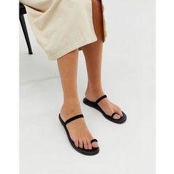 c91d65b77430 ASOS DESIGN Freedom toe loop flat sandals - Black