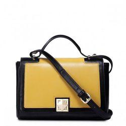 Modna kontrastująca torebka damska Żółta