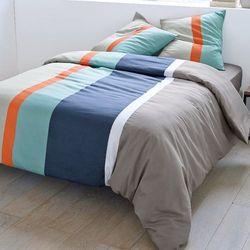 Poszwa na kołdrę + poszewka(i) na poduszkę kwadratową JAZ szary/czerwień/beż