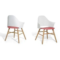 Krzesło biało-czerwone - Krzesło do jadalni, do salonu - krzesło kubełkowe - BOSTON