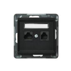 Gniazdo komputerowo - telefoniczne, MMC Ospel Sonata - Czarny Metalik - GPKT-R/K/m/33