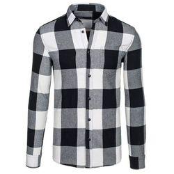 Czarna koszula męska w kratę flanelowa z długim rękawem Denley 7201 - CZARNY