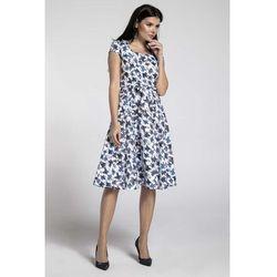 0bd28b33 Niebieska Sukienka z Szerokim Dołem z Dekoltem Karo